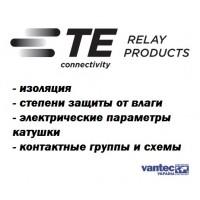 Реле TE Connectivity - изоляция, степени защиты, электрические параметры катушки, контактные группы и схемы